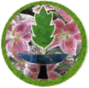 round with pink flower background gree frame and green leaf for flame on blue chalice