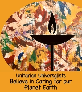 Gold square with fall leaves behind a black uu chalice design with text message unitarian universalists believe in caring for our planet earth