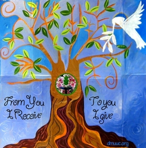 square colorful tree of life with white peace dove and text message from you i receive to you i live