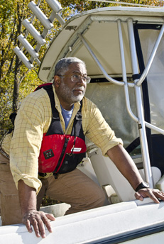 photo of fred tutman on a boat