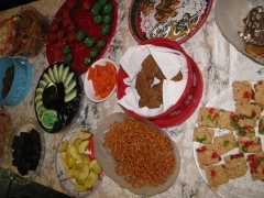 Spread of treats on a large table