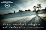 Thoreau quote over winter scene about understanding ourselves